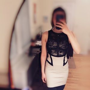 Edgy Clubbing Dress in Black Lace & Cream